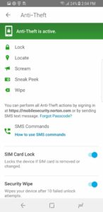 Anti theft in Norton Mobile Security